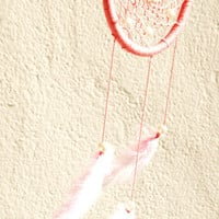 Pink Dreamcatcher with plastic beads, wall hanging