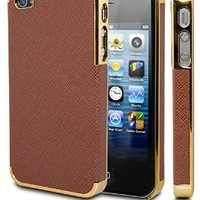 iPhone 4 Case, Case Ace® Gold Leather Case For iPhone 4 4S, Chrome Leather Case Super Fit iPhone 4/4S Case for Apple iPhone 4 4S Fits AT&T, Sprint, Verizon, T-Mobile (Brown/Gold)