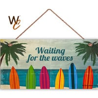 """Surf Sign, Waiting For The Waves, Colorful Surfboards, Weatherproof 5"""" x 10"""" Sign, Beach Wall Plaque, Beach House, Surfing, Made To Order"""