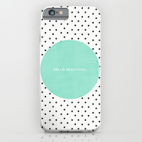 MINT HELLO BEAUTIFUL - POLKA DOTS iPhone & iPod Case by Allyson Johnson