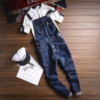 Summer Multi pocket Blue Denim Overalls Fashion Bib Harem Jeans Mens Overall Jeans With Suspenders Pocket Ankle Length 063009