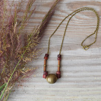 Copper Escapades Necklace Coral Beaded Copper Bamboo Antique Brass Modern Statement Necklace