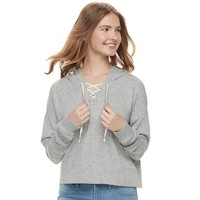 Juniors' SO® Cropped Lace-Up Hoodie   null