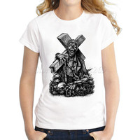 Women's creative cartoon zombie hunters Printed customized T shirt fashion casual slim lady tops halloween hipster cool tee