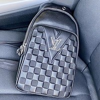 LV New Fashion Tartan Leather Shoulder Bag Crossbody Bag Black