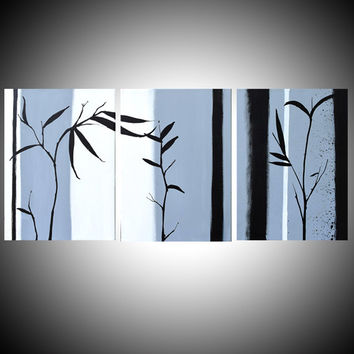"""large wall art triptych hanging chinese painting bamboo art canvas art 3 panel wall three panel living room decor 46 x 12 """""""