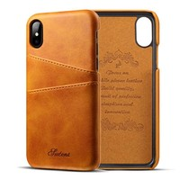 For Apple iPhone X Case Luxury Brand Leather With Card Cases Mobile Phone Shell Coque For iPhone X i10 Fitted Cases