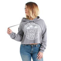 Los Angeles Circle Print Cropped Hoodie Grey