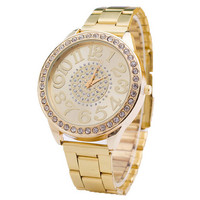 Womens Luxury Style Gold Alloy Watch with Diamond Best Gift