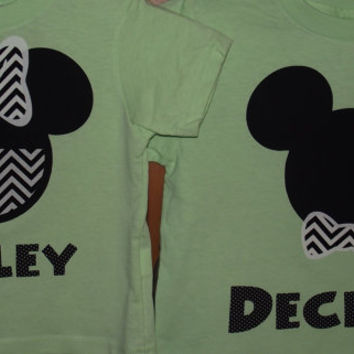 Chevron Minnie Mickey Mouse - Disney Birthday Family Custom T-Shirt Personalized Applique