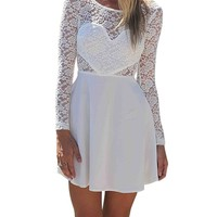 MS Women New Lace Long Sleeve Backless Beach Party Summer Dress White