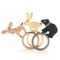 Betsey Johnson Rings Set, Mixed Metal Stacked Animals Rings Set - Fashion Jewelry - Jewelry & Watches - Macy's
