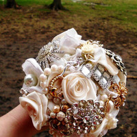 "Brooch Wedding Bouquet, Custom, Vintage, Bridal, Classy, 6"" Brooch Bridal, Fabric Flower Bouquet, Weddings, One of a Kind You Choose Colors"