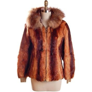 """Womens Vintage 1970s Coat Rust Brown Red Rabbit Parka 36"""" Bust Size S"""