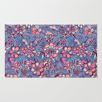Sweet Spring Floral - soft indigo & candy pastels Rug by Micklyn