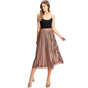 Luster Pleat Midi Skirt