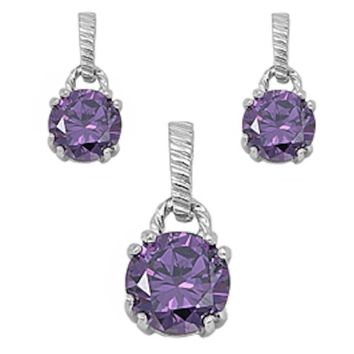 Round Cut 3.20 ct Faceted Amethyst Earrings And Pendant Set
