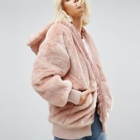 ASOS Oversized Hooded Jacket in Faux Fur at asos.com