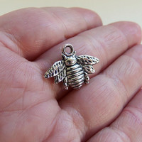 10 Bumble bee charms, bee charm, honeybee charm, honey bee pendant, bee jewelry, wasp charm, hornet charms, insect charm, silver bees - F425