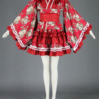 Red Long Sleeves Kimono Lolita Dress