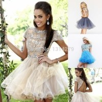 Sexy Elegant High neck Beads Short Prom Dresses Formal Backless Mini Party Gowns Dress Custom Plus size