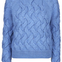 Chunky Cable Knit Jumper by Boutique - Blue