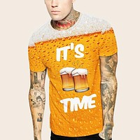 Fashion Casual Men Letter & Beer Graphic Tee