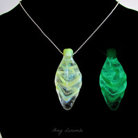 Glass Pendant - Forest Magic -  Green Glowing Leaf - Glow in the Dark