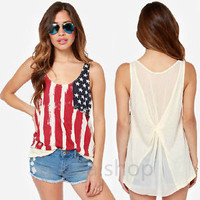 Women American flag Chiffon Loose Blouse Tees sleeveless Vest shirt Tank Tops
