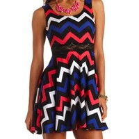 Chevron Lace-Waisted Skater Dress by Charlotte Russe - Black Combo