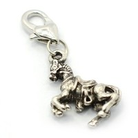 """Pro Jewelry """"Riding Horse"""" Clip-on Dangling Charm with Heart Clasp for Chain Link Charm Bracelet"""