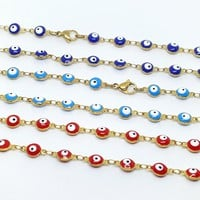1-1541-g7 Gold Plated Over Stainless Steel Evil Eye Necklace.