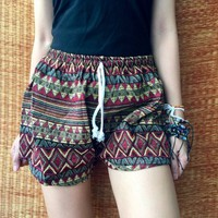 Tribal Shorts Boho Aztec style Hippie Gypsy Colorful Beach Summer shorts Unique Clothing Bohemian Gypsy style woven Cotton Fabric Gift women