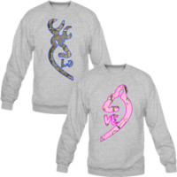 Browning Deer Love Couple Real Tree Camouflage Crewneck Sweatshirt