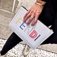 Fendi tide brand female rivet letter clutch bag envelope bag