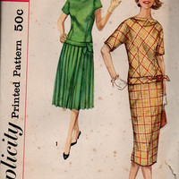Simplicity Late 50s Sewing Pattern Drop Waist Dress Chemise Pleated Skirt Cowl Neckline Mad Men Style Uncut FF Bust 32