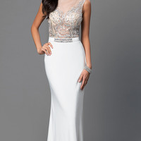 Ivory Dave and Johnny Dress with Illusion Back