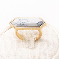 Gold Geometry Faceted Stone Ring