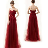 Wine red strapless tulle dress, Tulle prom dress, Long pink bridesmaid dress, Formal evening dress, Wedding dress