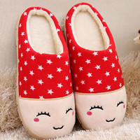 Star Patterned Smiley Anti-Slip Indoor Slippers
