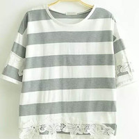 Grey and White Short Sleeve Striped Lace Shirt