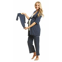 Navy Stripe Analise 5-Piece Maternity & Nursing PJ Set