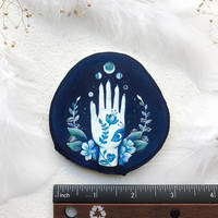 Midnight Blue Palm | Original Painting on wood