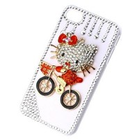 Luxury Rain Shape Crystal Diamond Red Ride Bicycle Hello Kitty White Case Cover for iPhone 4 4S