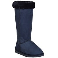 Womens Fur Cuff Mid Calf Boots Blue