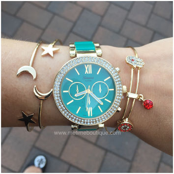 Madison Gold Rhinestone Watch 5 Colors Available