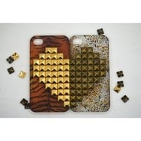 Amazon.com: Handmade Studded Heart Leopard Print Hard Couple Cases (2 pcs) for Apple iphone 4 4S with FREE leopard Home Button Sticker: Cell Phones & Accessories