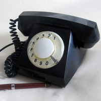 Antique Rotary Phone, Soviet Vintage Black Rotary Telephone, Working Retro Home Phone, Retro Telephone Made in USSR 70s