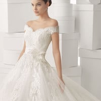 A-line Sweetheart Wedding Dress Satin and Tulle with Appliques # 6009878