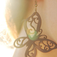 Brown butterfly wooden earrings. Nice women jewelry. Brown butterfly earrings.